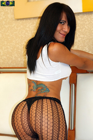 Big Booty Shemale Cock in Fishnet Pantyhose