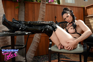 Shemale Big Cock in Shiny Latex Thigh Boots