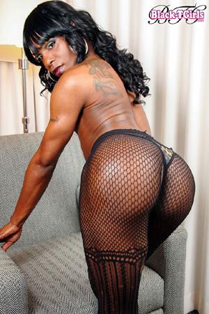 Shemale Dick In Fishnet - Black TGirl Porn