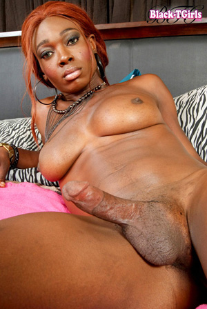 Hung Ebony Shemale Cum