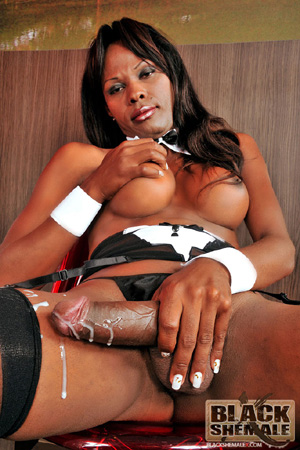 Huge Shemale Cumshot from a Big Black Tranny Cock