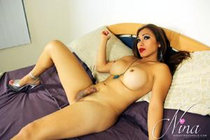 Messy Latina Shemale Cumshot