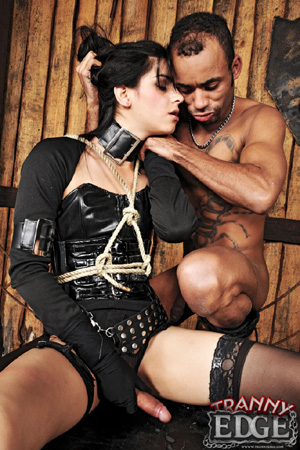 Hard Tied Shemale Cock Slave in Strict Bondage