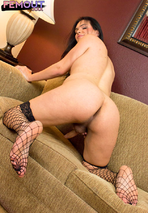 Sexy Hung Shemale Stroking and Footjob in Fishnets
